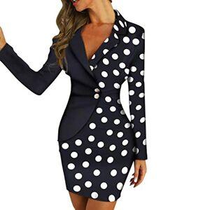Women Work Dress Formal Buttons Ruched Bodycon Dress Office Business Dresses Elegant Patchwork Asymmetrical Style Pencil Mini Dress Blazer Style Lapel Dress Skinny Polka Dots Dresses Black