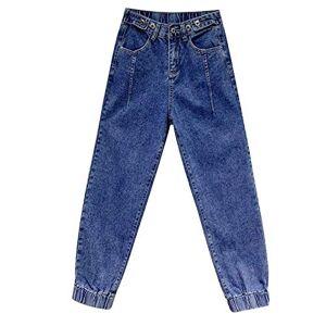 Women's Hight Waisted Stretch Ripped Skinny Jeans Distressed Denim Elastic Korean Wide Leg Harem Beam Plus Size Jeans M