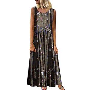 Kingwo Women Plus Size Dress,Summer Casual Loose Sleeveless Sundress O-Neck A-line Beach Summer Tank Tunic Long Dress Vintage Floral Printed Maxi Linen Dresses UK Size 6~20 (XXXL-UK:20, 26Green)