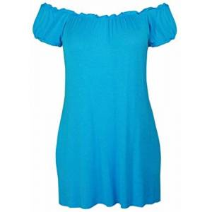 Purple Hanger Ladies New Plain Off Shoulder Boho Womens Elasticated Gathered Long Gypsy Summer Top Turquoise Size 22 24