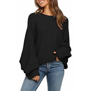 Womens Batwing Puff Sleeve Sweater Oversized Jumpers Loose Fit Knit Top Elegant Solid Color Pullover Black