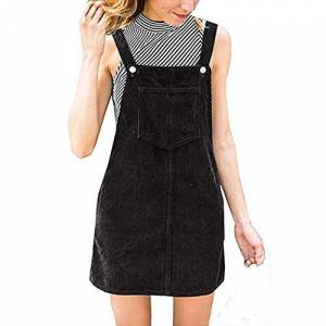 PASATO New Hot!Women Corduroy Straight Suspender Pinafore Casual Pocket Skirt Mini Bib Overall Dress - Black - Large = US Medium