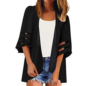 LOPILY 2019 Women Mesh Panel 3/4 Bell Sleeve Pure Color Chiffon Casual Loose Kimono Cardigan Black