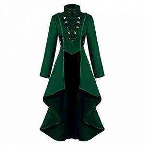 Younthone Medieval Retro Women Gothic Steampunk Button Lace Corset Halloween Costume Coat Tailcoat Jacket Long Jacket Party Cosplay Stage Costume S-XXXL(Green,L)