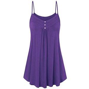 HARRYSTORE Women Summer Pleated Tank Tops Lady Strappy Button Ruffle Swings Spaghetti Vest Plain Cami Crop Tops Blouse (UK 22, Purple)