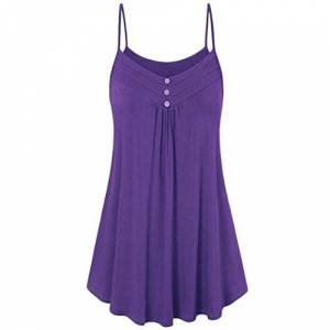 HARRYSTORE Clearance Women Summer Pleated Tank Tops Lady Strappy Button Ruffle Swings Spaghetti Vest Plain Cami Crop Tops Blouse (UK 22, Purple)