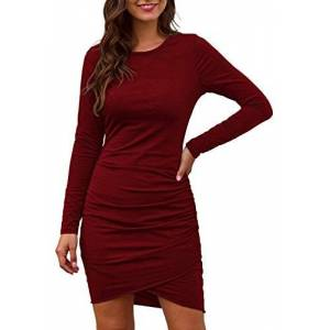 HenzWorld Ladies Casual Homewear Basic Fitted Short Dress Women's Hips-Wrapped Bodycon Long Sleeves Ruched Elegant Mini Dresses Wine Size L