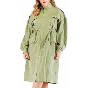 Jghsxdhg Women Casual Long-Sleeve Coat Drawstring Loose Military Jacket Outwear Army Green