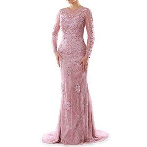 MACloth Women Long Sleeve Mermaid Lace Evening Formal Gown Mother of Bride Dress (UK14, Purple)