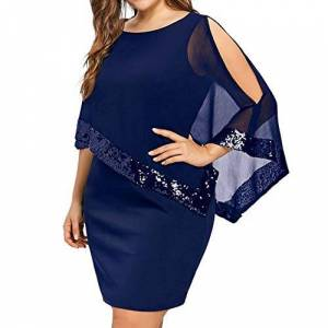 Auied Irregular Stitching Sequins Round Neck Strapless Chiffon Dress Women Plus Size Cold Shoulder Overlay Asymmetric Chiffon Strapless Sequins Dress Blue