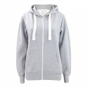 Parsa Fashions Ladies Plain Zip Up Hoodie Womens Fleece Hooded Top Long Sleeves Front Pockets Soft Stretchable Comfortable (Silver Grey/3XL UK-18)