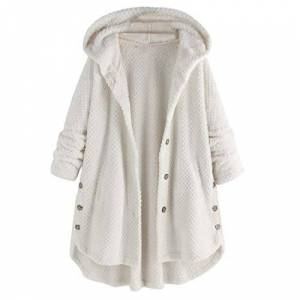 YEBIRAL Women Outwear Winter Long Sleeve Warm Parka Overcoat Plus Size Fleece Irregular Button Pocket Hooded Coat White