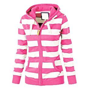IFOUNDYOU Womens Hoodies2019 New Women's Hood Large Size Long Sleeve Striped Sweater Womens Clothes Sale Stripe Zipper Casual Slim Tops Womens Clothing Hooded Sweatshirt Coat Jacket Jumper Hot Pink