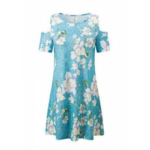 YMING Women Summer Short Sleeve Dress Round Neck Floral Printed Tunic Dress Blue Lily XS