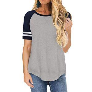 Lovezesent Tops for Women Short Sleeve Side Split Casual Loose Tunic T Shirt Blouse Grey Small UK 6 8