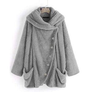 IFOUNDYOU Jacket Kimono Vest Blazer Winter Coat Women Winter Warm Outwear Pockets Hooded Floral Print Women Casual Solid Turtleneck Large Pockets Cape Vintage Oversize Coats Elegant Hoodie