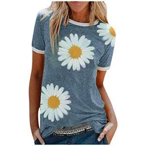 kolila Women's T-Shirt Loose Casual Little Daisy Plus Size Print Short Top Heart Simple Blouse Girl (Blue,XX-Large)
