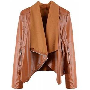 Aimei Women Casual Lapel Collar Elegant Short Style PU Leather Jackets,Brown,3X-Large