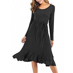 HenzWorld Women's Long Sleeved Gowns Lady Dresses with Belt Fall Party Slim Ruffled Outfits for Work Midi Skirt Plain Black L