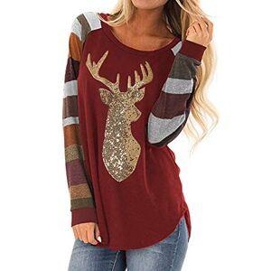 FIRMON Ladies Christmas Slim Long Tops Blouse,Womens Xmas Reindeer Sequin Stripe O-Neck Long Sleeve Tunic T-Shirt Costume Red 2XL