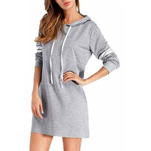 Womens Hoodies Sweatshirt Dress Long Stripe Sleeve Tunic Pullover Casual Drawstring Hooded Jumper Tops Light Grey Large