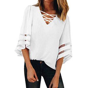 GOSOPIN Summer Blouse for Women Plus Size Lace Up V-Neck T-Shirt Short Sleeves Tee White UK 22