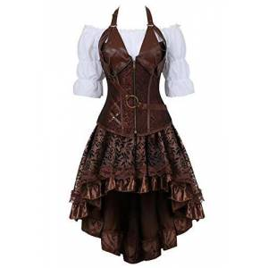 Steampunk Corset Dress 3 Piece Outfits for Women Leather Bustiers Gothic Lace Pirate Skirt Retro White Blouse Brown 3XL