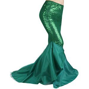 iiniim Women Sequins Mermaid Tail Trumpet Skirt Wedding Party Dancing Fancy Dress Costume Prom Gown (Large, Green)