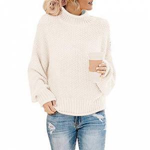 TOPEREUR Womens Turtleneck Jumper Long Sleeve Dropped Shoulders Casual Loose Pullover Solid Knitted Sweater with Ribbed Trims White