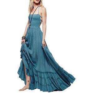 R.Vivimos Women's Summer Boho Halter Neck Long Maxi Dress Sleeveless Ruffle Hem Dress (Medium, Blue)