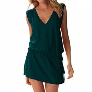 Summer Womens Casual Sleeveless Beach Dress Ladies Sexy V Neck Halter Backless Mini Kimono Dresses Beach Bikini Cover Up Caftan Tunic Top Drawstring Sundress for Party Cocktail Holiday Going Out Wear