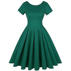 Unifizz Womens 1940s Cocktail Party Short Sleeve Midi Tea Dress Solid Grass Green Size XL