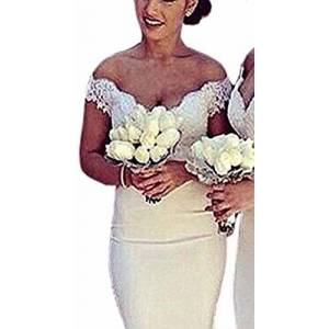 Special Bridal Mermaid Prom Dresses for Women Off The Shoulder Ivory Long Bridesmaid Dress