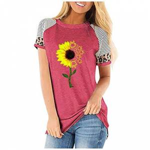 AG&T Plus Size Graphic Tees for Women Floral Print Cute Funny T Shirt Short Sleeve Tops for Juniors Summer Shirt Blouse,Novelty Simple Shirt Basic Tee Blouse Hot Pink