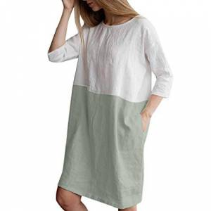 DEELIN Women's Dresses for Summer Casual Patchwork 1/2 Sleeved Round Neck Cotton and Linen Loose Pockets White Daily Tunic Dress Plus Size S-XXL(Green,XXL)