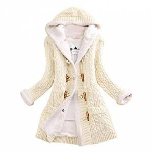 Ladies Cashmere Knitted And Velvet Casual Jacket Quaint Button Long Sleeve Hooded Cardigan Over The Knee Long Thicken Jacket Coat