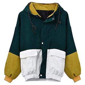 Hoodie Women Long-Sleeved Parka Windbreaker Zipper Loose Lined Coat Corduroy Patchwork Large Sizes Pockets Jacket Cardigan Outwear Fashion Light Sport Transitional Coat Top 3XL