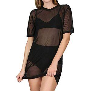 ZANZEA Womens Ladies Short Sleeve Sheer Mesh See Through Plain Oversize Baggy T-Shirt Black-A73825 UK 18