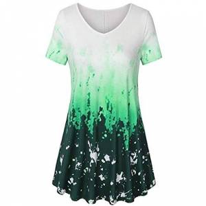 Womens Tops, SHOBDW Plus Size Summer Daily Blouse Casual V Neck Short Sleeve A Line Curved Hem Tie Dye Business Tunic Loose T Shirt S-5XL(Green,4XL (UK 22))
