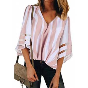 GOSOPIN Womens Plus Stripes Printed Blouse Casual Loose V-Neck Mesh Bell Sleeves Shirts Tops Tee Pink X-Large