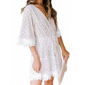 AlvaQ Womens Summer Polka Dot Lace Mini Dress V Neck Half Sleeve Casual Beach Dress Sundress Beige