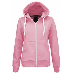 Parsa Fashions Ladies Plain Zip Up Hoodie Womens Fleece Hooded Top Long Sleeves Front Pockets Soft Stretchable Comfortable (Baby Pink/3XL UK-18)
