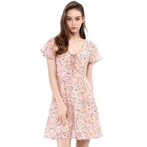 Allegra K Women's Floral Flouncing Sleeve A-line Lace-up V-Neck Chiffon Dress Pink XS
