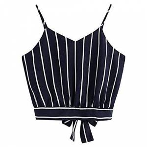 Rcool Women Girls Self Tie Back V Neck Striped Halter Crop Top Camisole Blouse Casual Sleeveless T-Shirt Vest Tops (Navy, Large)