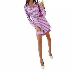 Hx Fashion Ladies Autumn Winter Fashion Skirt Casual Comfortable Dresses Women Comfortable Sizes Skirts Long Sleeve Striped Over Knee Dress Ladies Beach Party Dresses (Color : Purple, One Size : L)