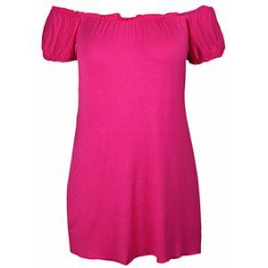 Purple Hanger Ladies New Plain Off Shoulder Boho Womens Elasticated Gathered Long Gypsy Summer Top Cerise Size 22 24