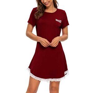 Women Soft Nightdress Crewneck Nighties Lace Nightshirts Loose Lounge Wear T-Shirt Dress with Pocket