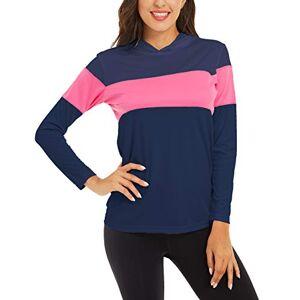 Tacvasen-Eu Womens UPF 50+ Sun Protection Shirts Long Sleeve Outdoor Sports T-Shirt Athletic Top Summer Light Base Layer Walking Treeking Hiking Tee Navy Rose