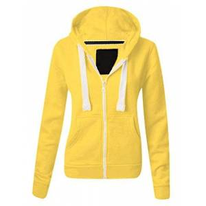 Parsa Fashions Ladies Plain Zip Up Hoodie Womens Fleece Hooded Top Long Sleeves Front Pockets Soft Stretchable Comfortable (Lemon/3XL UK-18)