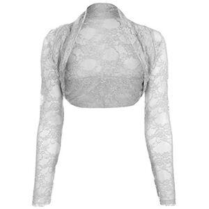 Divadames Womens Cropped Lace Shrug Ladies Bolero Light Grey Size S/M (UK 8-12)